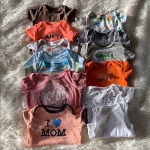 13 Piece 3-6 Month Baby Boy Onsie Shirt Bundle